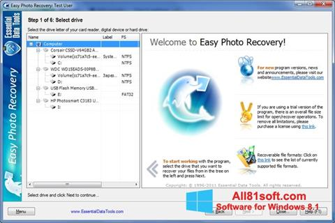צילום מסך Easy Photo Recovery Windows 8.1