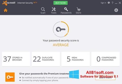צילום מסך Avast Internet Security Windows 8.1
