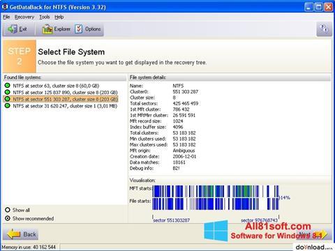 צילום מסך GetDataBack Windows 8.1