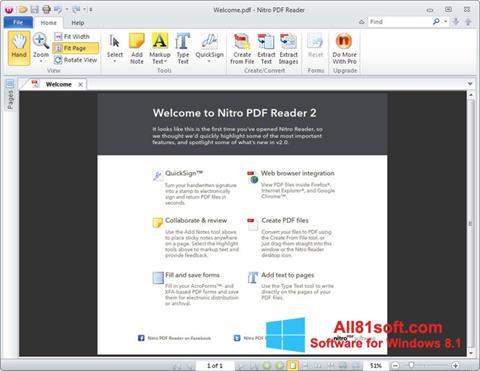 צילום מסך Nitro PDF Reader Windows 8.1