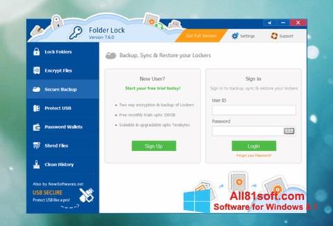 צילום מסך Folder Lock Windows 8.1