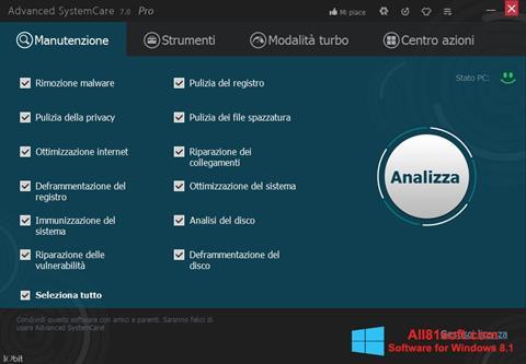 צילום מסך Advanced SystemCare Pro Windows 8.1