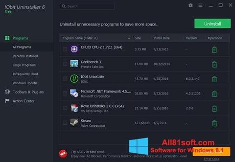צילום מסך IObit Uninstaller Windows 8.1