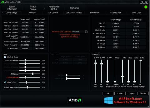 צילום מסך AMD Overdrive Windows 8.1